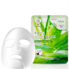 3W CLINIC Fresh aloe mask sheet - Маска для лица тканевая с алоэ 23мл