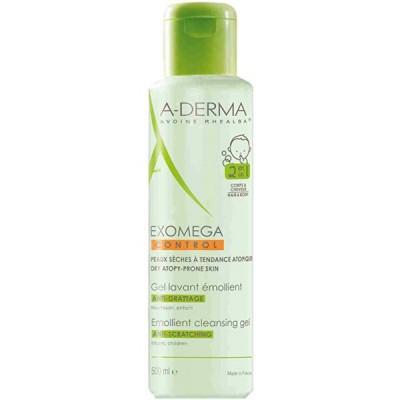 A-DERMA EXOMEGA CONTROL Emollient Cleansing Gel 2 in 1 - Смягчающий очищающий гель 2 в 1 для тела и волос 500мл