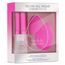 beautyblender GLOW ALL NIGHT - Набор Спонж для макияжа РОЗОВЫЙ + Двухсторонняя пуховка для пудры + Освежающий спрей для фиксации макияжа 1шт + 1шт + 15мл