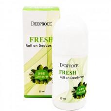 Deoproce Fresh roll on deodorant - Дезодорант шариковый освежающий 50мл